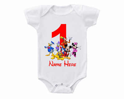 Mickey Mouse Birthday Onesie or Tee Shirt Customized 1st 2nd 3rd 4th 5th Custom