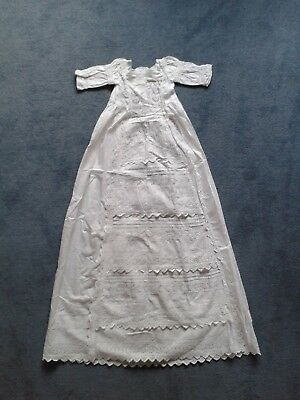 Edwardian Cotton Christening Robe/Nightdress  - Small