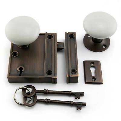 Signature Hardware Vertical Rim Lock Set with Porcelain Knobs
