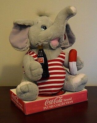 """Coca-Cola Plush Collection Cute 11"""" Elephant in Striped Swimsuit New w/Tags-L@@K"""