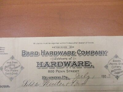 Vintage letterhead Bard Hardware Company Reading PA machinists supplies 7/1/1903
