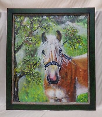 Signed Vintage Horse in Garden Oil Painting in Green Vintage Style Wood Frame