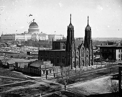 New 11x14 Civil War Photo: Church & Unfinished Capitol Building in Washington
