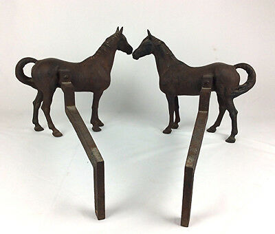 Antique cast iron fugural Horse Andirons