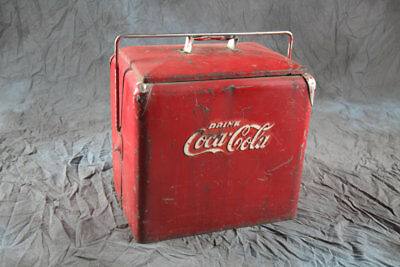 Original Antique 1950s Coca Cola Cooler, Vintage Coke Advertising