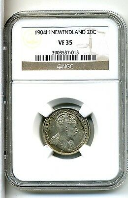 Newfoundland 20 Cents 1904-H,.925 Silver,NGC VF 35