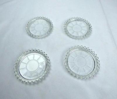 Imperial Glass Ohio Candlewick Clear Coaster Set of 4 Coasters 10-Ray