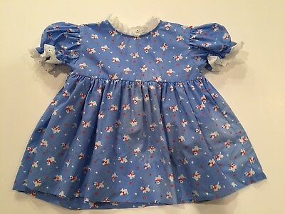 Vintage Baby Dress Light Blue Puppy Dogs and Hearts Eyelet Lace Trim 6-9 months