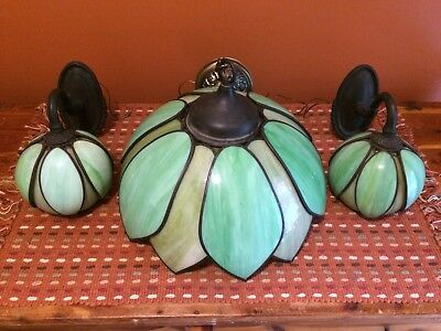 Vintage Mid Century Pendant Artichoke Lamp And Matching Wall Sconces