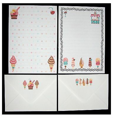 NEW Design - Cute Kawaii Ice Cream Lolly Letter Writing Paper Stationery Set