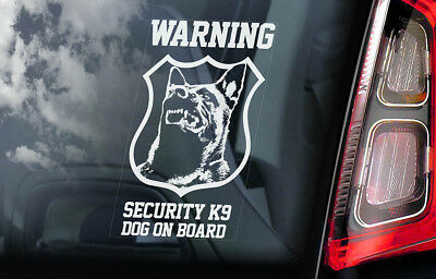 WARNING Security K9 - Car Window Sticker - Belgian Malinois Dog Sign Decal - V08