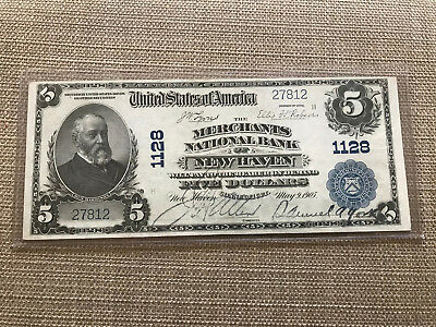 1902 $5 National Bank New Haven Connecticut Fr.598 Ch.1128