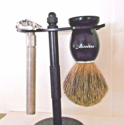 Vintage  Perfecto Pure Badger Shaving Brush & Razor Set With Stand Nr