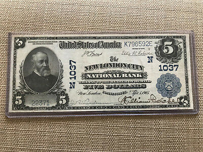 1902 $5 New London City National Bank Connecticut Fr.598 Ch.1037