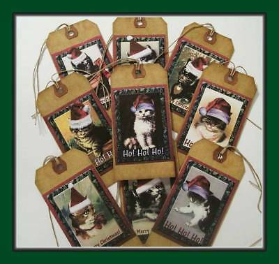Christmas Cats In Santa Hats - Set Of Nine Primitive  Hang Tags