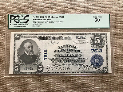 1902 $5 National City Bank Of Troy New York Fr.598 Ch.7612