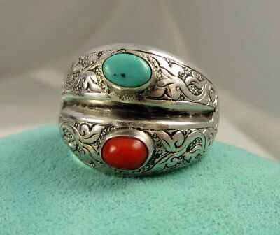Estate Vintage Stunning Ornate Sterling Silver Turquoise Coral Size 9.75 Ring