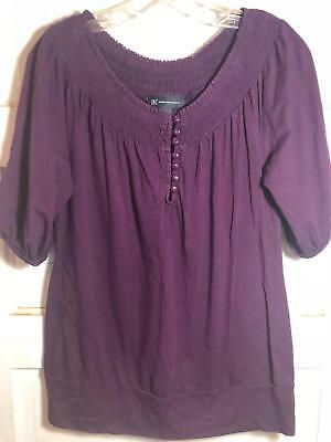 I.N.C. International Concepts Women's Shirt Scoop Neck Casual Purple Size Medium