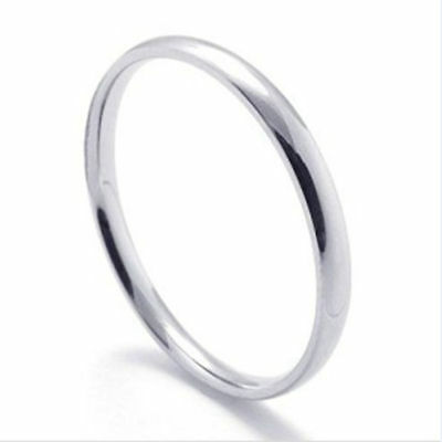 Thin 316L Stainless steel 2mm Wedding Band Ring Size 5-12