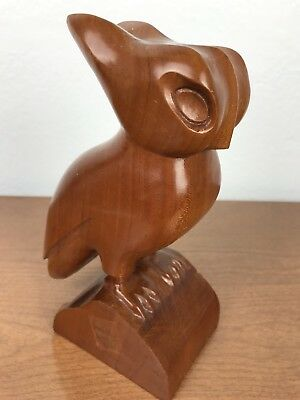 Vintage Mid Century Modern Wood Carved Owl Figure Egyptian Stylized Myrtle Wood