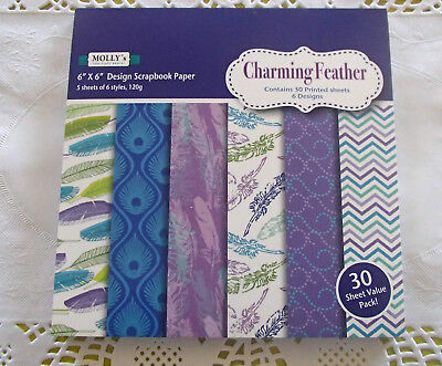 "Pack of 30 sheets of MOLLYS 6 inch x 6 inch Scrapbook paper ""Charming Feather"""