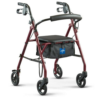 "Medline Standard Steel Folding Rollator Walker with 8"" Wheels, Burgundy"