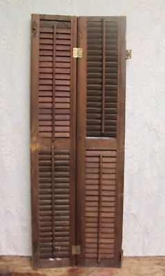 "Pair of Salvaged Antique Louvered Wood Shutters 42.5"" Tall"