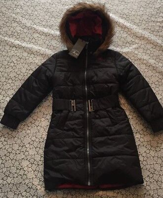 New Girls Firetrap size 5 to 6 winter belted jacket fur hood