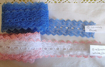 knitting in/coathanger/eyelet lace total 10.5 meters in blue and white& pink