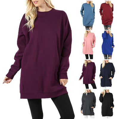 Womens Crew-Neck Over-sized Pullover Sweater Tunic Long Sleeve With Side Pockets