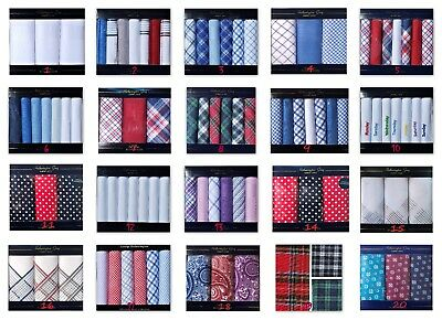 Mens handkerchiefs 100% Cotton Hankies Hankys 23 Designs Boxed Gift Pack Lot