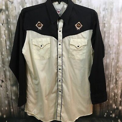 Vintage Western Wear Pearl Snap Shirt Men's Size Large Embroidery Buffalo