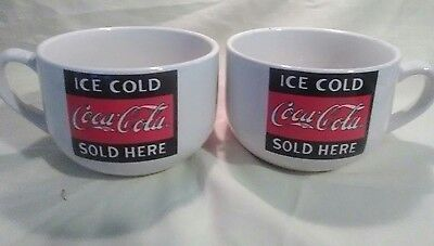 Pair of Gibson Coca-Cola Soup Bowls with Handles Hard to Find / Rare