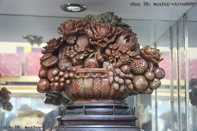 """16"""" Natural Agalmatolite Shoushan Stone Countless Rich Fruitage Fengshui Statue"""
