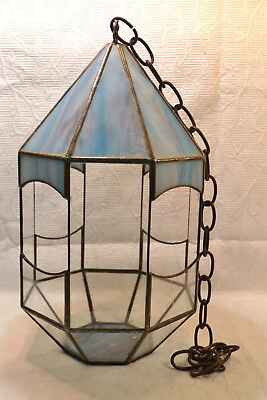 Vintage Octagon Blue Purple and White Hanging Stained Glass Terrarium Air Plants