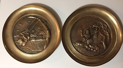 Pr of VINTAGE SOLID BRASS ASIAN  WALL HANGING PLATE /GOLD TONE FINISH/Korea