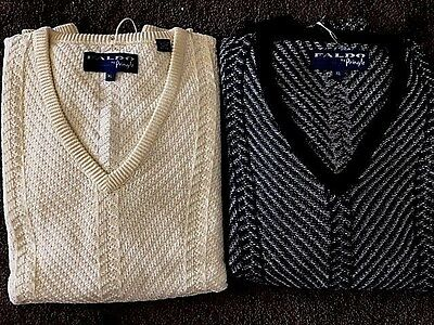 2 New NWT Mens Pringle XL V-Neck Black and Yellow Sweaters Retails For $150.00