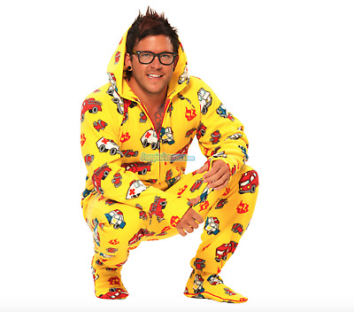 Unisex Soft Yellow Fire Trucks Polar Fleece Adult Sized Footed Hoodie Pajamas