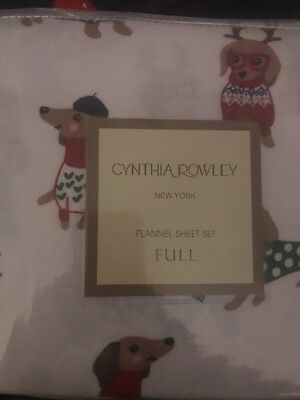 Cynthia Rowley Christmas Dachshunds Full Flannel Sheet Set