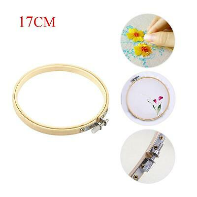 Wooden Cross Stitch Machine Embroidery Hoops Ring Bamboo Sewing Tools 17CM PO