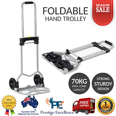 Folding Hand Trolley Cart Push Pull Luggage Mover Collapsible Aluminium 70KG Cap