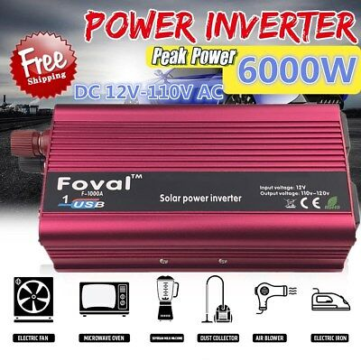 Portable Car LED Power Inverter 3000W WATT DC 12V to AC 110V Charger Converter H