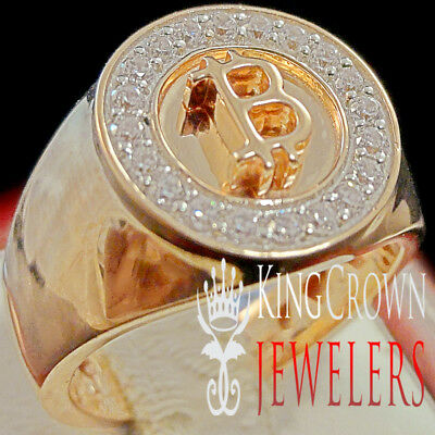 Mens 10K Rose Gold Over Sterling Silver Lab Diamond Bitcoin QR Pinky Ring Band