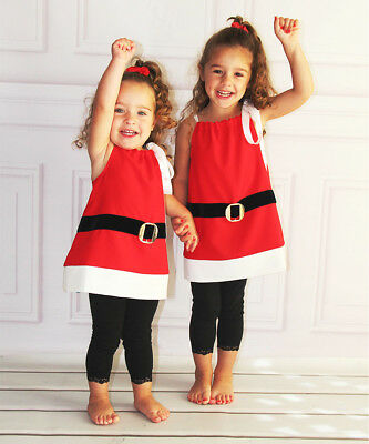 US Stock Christmas Toddler Girls Kids Santa Claus Strap Tops Party Dress Clothes