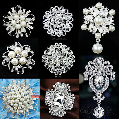 Silver Flower Rhinestone Crystal Diamante Pearl Brooch Wedding Bridal Broach Pin