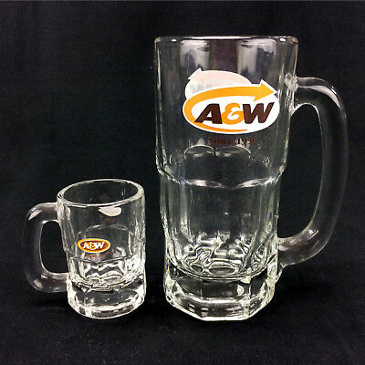 Lot 2 A&W Mugs Full Size & Mini Root Beer Cup Clear Glass Canadian Logo