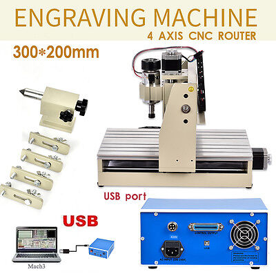 3020T 4 Axis Usb Cnc Router Engraving Cutter Cutting Carving Tool Usb Port Mach3