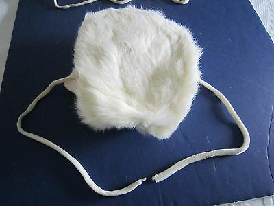 Child's Vintage White Rabbit FUR HAT w/Ear Muffs  c1950's *FREE SHIPPING