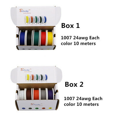 100m UL 1007 24AWG 10 colors box1+box2 Electrical Wire Tinned Copper PCB Wire