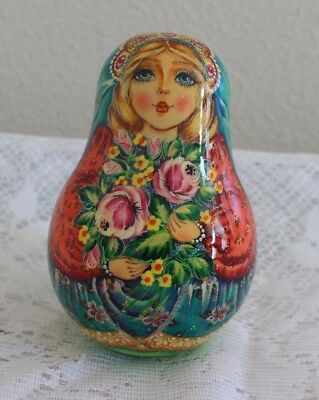 "Russian Roly Poly Nevalyashka 5""  Wooden Music Doll ~ Signed"